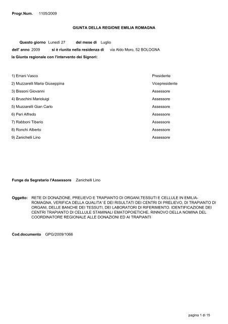 Delibera regionale N. 1105/2009 - Saluter
