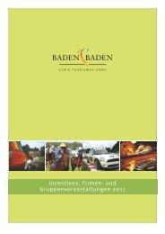 Incentives, Firmen- und Gruppenveranstaltungen 2011 - Baden-Baden