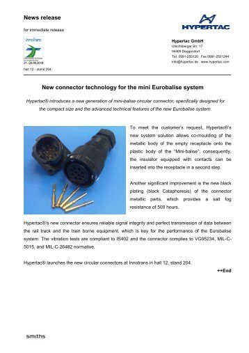 News release New connector technology for the mini Eurobalise ...