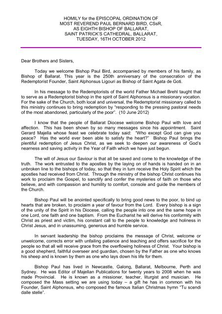 HOMILY for the EPISCOPAL ORDINATION OF MOST REVEREND