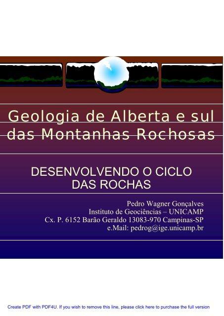 Geologia de Alberta e sul das Montanhas Rochosas - IGEO- Unicamp