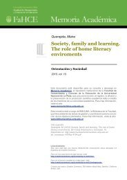 Society, family and learning. The role of home literacy enviroments