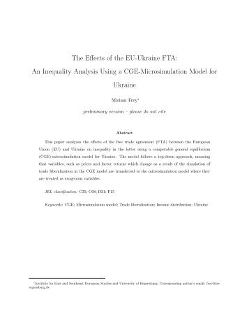 The Effects of the EU-Ukraine FTA: An Inequality ... - Ecomod Network