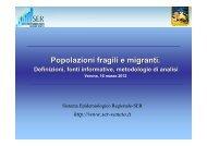 Popolazioni fragili e migranti. - Associazione Italiana Epidemiologia