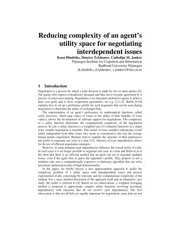 Reducing complexity of an agent's utility space for negotiating ...