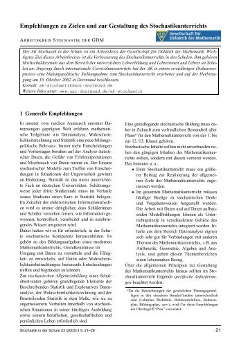 Empfehlungen zu Zielen und zur Gestaltung des Stochastikunterrichts