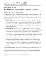 Vaccine Safety: Parent Handout - American Academy of Pediatrics