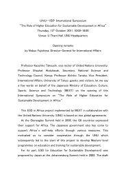 Opening Remarks - UNU-ISP - United Nations University