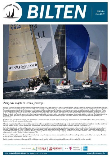 Četvrti bilten - Uskršnja regata