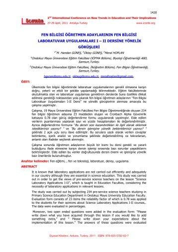 fen bilgisi öğretmen adaylarının fen bilgisi laboratuvar - International ...