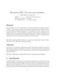 Régression PLS : Une nouvelle approche Résumé Abstract 1 ...