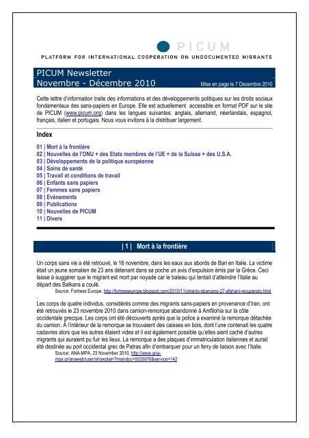 PICUM Newsletter Novembre - Décembre 2010