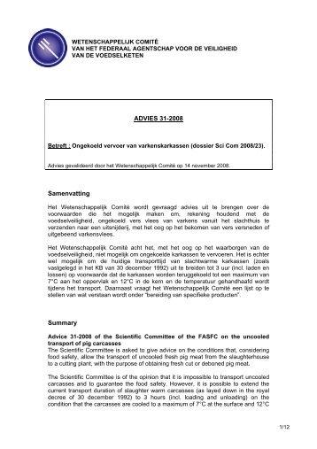 ADVIES 31-2008 Samenvatting Summary - Favv