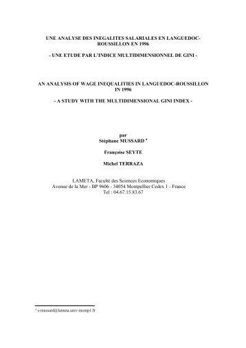 La décomposition de l'indice de Gini - Lameta