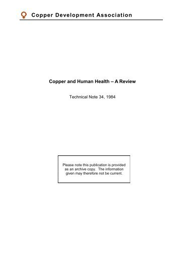 Copper and Human Health - Copper Development Association