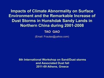 Impacts of Climate Abnormality on Surface Environment and the ...