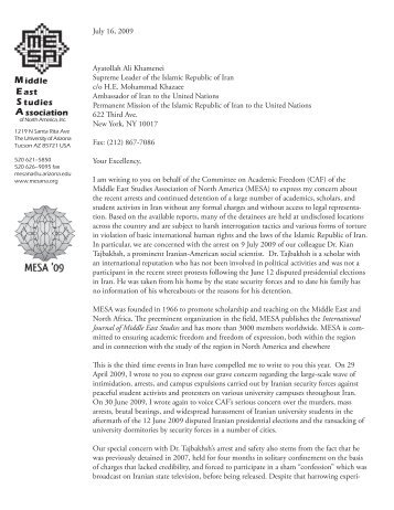 Iran letter 090716.indd - Middle East Studies Association - University ...