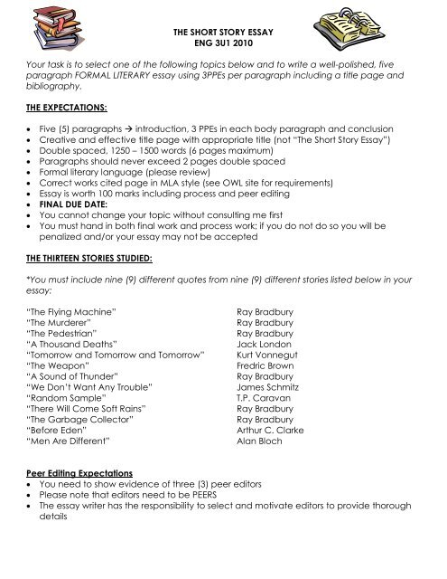 Persuasive Essay Topics High School  Position Paper Essay also Essay On High School Experience The Short Story Essaypdf  English How To Write An Application Essay For High School