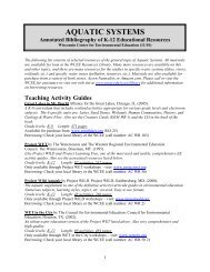 AQUATIC SYSTEMS - University of Wisconsin - Stevens Point