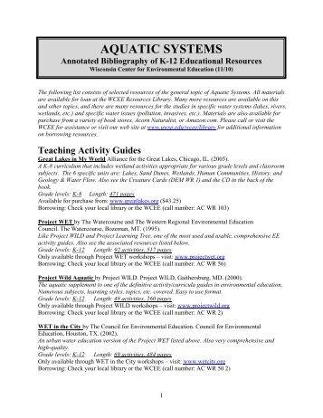 AQUATIC SYSTEMS - University of Wisconsin - Stevens Point