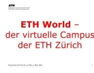 1 Präsentation ETH World vor ITEK, 5. März 2001 - ITEK - ETH Zürich