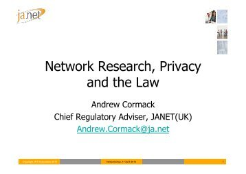 Network Research, Privacy and the Law - Janet
