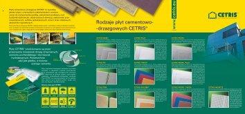 Rodzaje płyt cementowo- -drzazgowych CETRIS®
