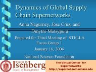 Dynamics of Global Supply Chain Supernetwork - The Virtual Center ...