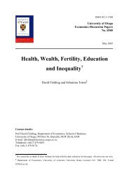 Health, Wealth, Fertility, Education and Inequality - Otago University ...