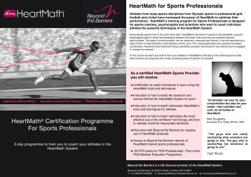 HeartMath Sports Certification Programme - Beyond the Barriers