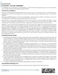 Master Account Agreement, Including Investment ... - LPL Financial