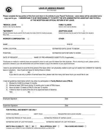 Request for Unpaid Leave of Absence Form - Moreno Valley Unified ...
