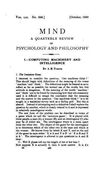 Computing Machinery and Intelligence - Mind