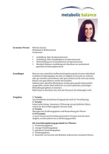 metabolic balance mit Martine Fassino - Urs Drogerie