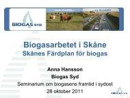 Skånes Färdplan för biogas