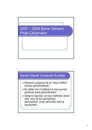 2007 – 2008 Bahar Dönemi Proje Çalışmaları