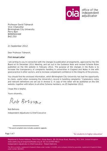 Birmingham City University - Office of the Independent Adjudicator