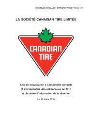 Circulaire d'information de la direction 2010 - Canadian Tire ...