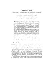 Component Tools: Application and Integration of Formal Methods