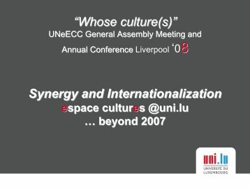 """""""Whose culture(s)"""" Synergy and Internationalization - UNEECC"""