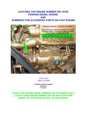 ENGINE NUMBER LOCATION ON PERKINS DIESEL ENGINE ...