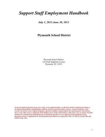 Support Staff Employment Handbook - Plymouth School District