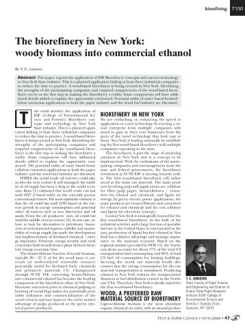 The biorefinery in New York: woody biomass into commercial ethanol
