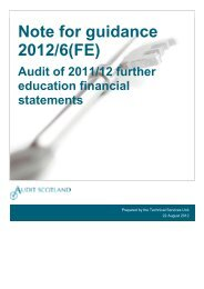 Note for guidance 2012/6(FE) - Audit Scotland