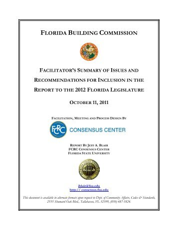 FBC Summary of Issues and Recommendations 2012 Legislature