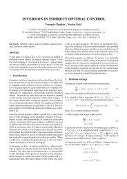 inversion in indirect optimal control - Centre Automatique et Système