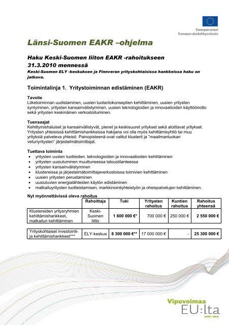 EAKR-rahoituksesta - Keski-Suomen liitto