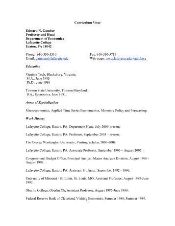 Curriculum Vitae Edward N. Gamber Professor and Head ...