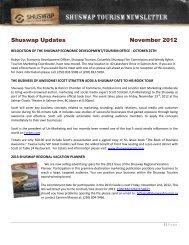 Shuswap Updates November 2012 - Shuswap Tourism