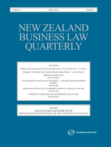 new zealand business law quarterly - Faculty of Law - The University ...